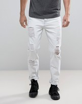 Asos Tapered Jeans With Mega Rps In White