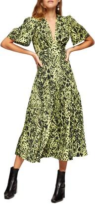 Topshop Animal Print Angel Sleeve Midi Dress