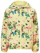 John Lewis Girls' Tropical Print Raincoat, Yellow/Multi