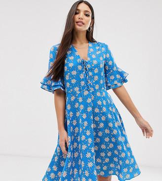 Y.A.S Tall printed tea dress-Blue