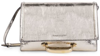 Alexander McQueen Small The Story Metallic Leather Crossbody Bag