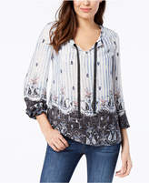 Style&Co. Style & Co Printed Ribbon-Tie Top, Created for Macy's