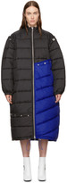 3.1 Phillip Lim Blue & Black Long Colorblock Puffer Coat