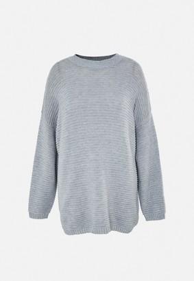 Missguided Plus Size Grey Rib Jumper Dress