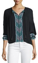 Townsen Bogo Long-Sleeve Embroidered Top, Black