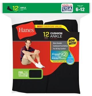 Hanes Mens FreshIQ Ankle Cushion Socks, 12 Pack, White, Size 6-12