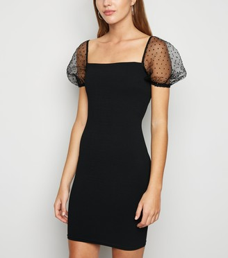 New Look Organza Spot Puff Sleeve Bodycon Dress