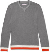 Orlebar Brown Whiteley Contrast-trimmed Waffle-knit Cotton Sweater - Gray