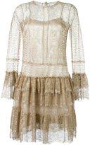 Alberta Ferretti ruffled lace dress - women - Silk/Polyamide/Metallic Fibre - 44