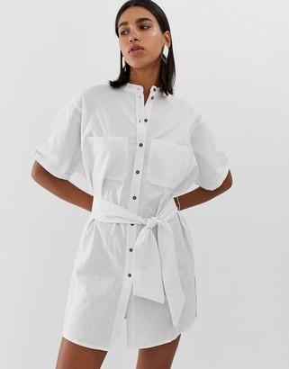 Pieces button through cotton dress-White