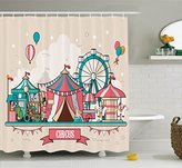 Circus Decor Shower Curtain Set By Ambesonne, Circus Facilities Scenery In  Flat Design Style Balloons