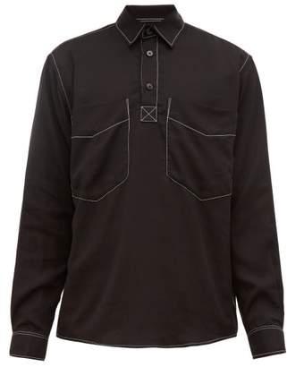 Schnaydermans Schnayderman's - Contrast-stitched Poplin Shirt - Mens - Black