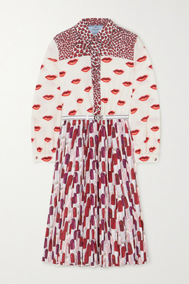 Prada Belted Pleated Printed Crepe De Chine Midi Dress - Red