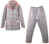 Tortor 1bacha Men's Winter Plaid Thicken Quilted Flannel Pajama Set