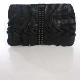 Be & D Black Leather Tiered Ruffle Single Strap Medium Shoulder Handbag