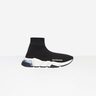 Balenciaga Speed Clearsole Sneaker in black knit, white and black sole unit