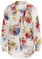 Erdem Rosabel Pussy-bow Printed Silk-chiffon Blouse - White