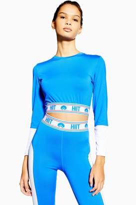 Womens Mesh Long Sleeve Crop T-Shirt By Hiit - Navy Blue