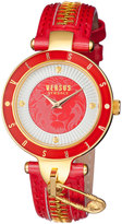 Versus By Versace 37mm Key Biscayne II Watch w/ Leather Zipper Strap, Red