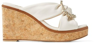 Jimmy Choo Nevara 90 Leather Wedge Sandals