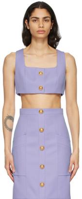 Balmain Purple Twill Cropped Tank Top