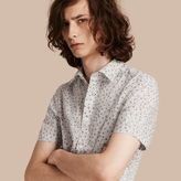 Burberry Short-sleeved Dash Print Cotton Shirt