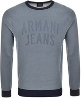 Giorgio Armani Jeans Striped Crew Neck Jumper Blue