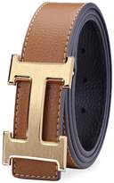 WEKING Men Business Casual H Word Deduction Leather Belt with Pin Buckle