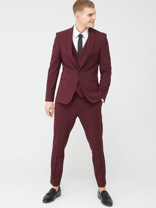 River Island Stretch Skinny Suit Trousers - Dark Red