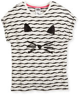 Karl Lagerfeld Textured Choupette Stretch Jersey Tee, White, Size 6-10