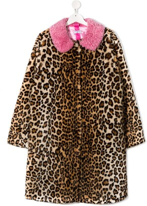 MonnaLisa TEEN leopard faux-fur coat