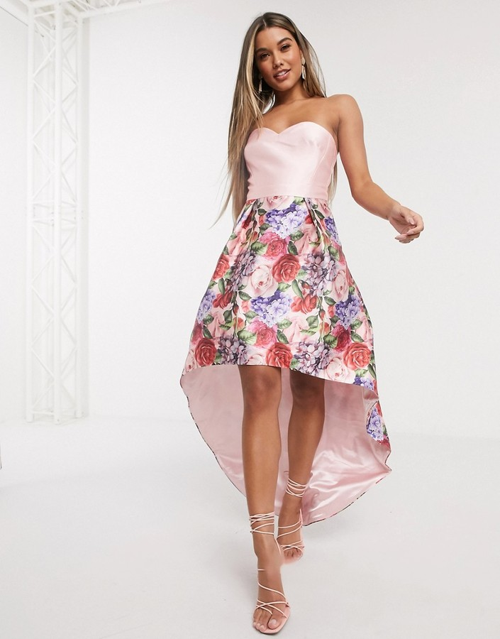 Chi Chi London bandeau prom dress with high low hem in mink floral