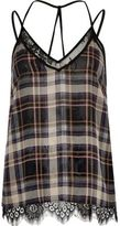 River Island Womens Black checked lace cami top