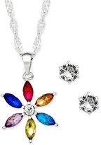 Charter Club Silver-Tone Crystal Daisy Pendant Necklace and Stud Earrings Set, Only at Macy's
