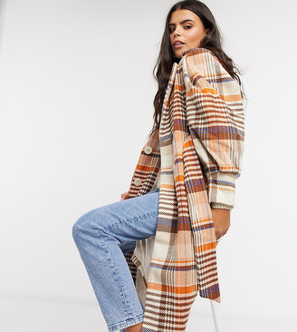 Y.A.S wool longline coat with tie waist belt and volume sleeve in check