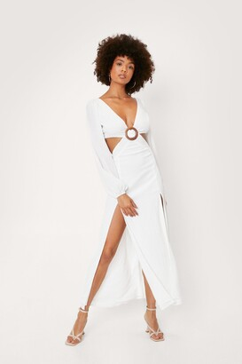 Nasty Gal Womens Chiffon Hoop Cut Out Maxi Dress - Cream - 10