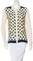 Celine Silk-Paneled Abstract Print Cardigan