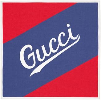 Gucci script print cotton scarf
