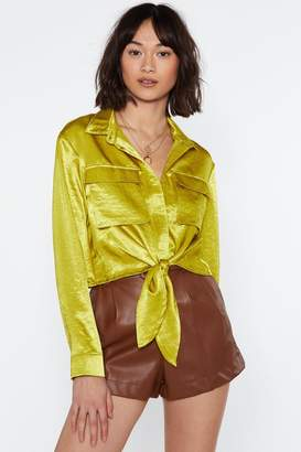 Nasty Gal Womens Chance Would Be A Shine Thing Tie Utility Shirt - Green - 6, Green