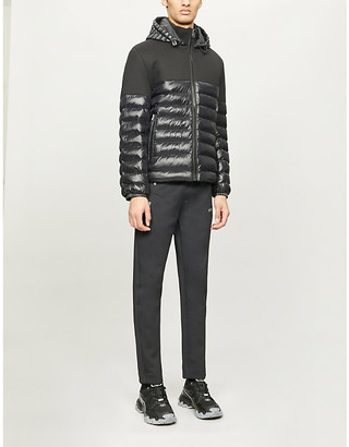 BOSS Hooded stretch-crepe padded jacket