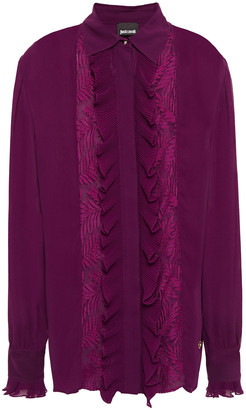 Just Cavalli Lace-trimmed Ruffled Georgette Shirt