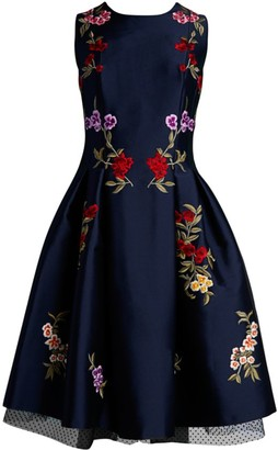 Ahluwalia Floral Embroidered Fit-&-Flare Dress