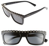 Valentino Women's Rockstud 51Mm Rectangular Sunglasses - Black/ Light Gold