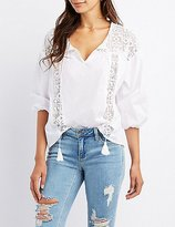 Charlotte Russe Crochet Inset Tunic Top