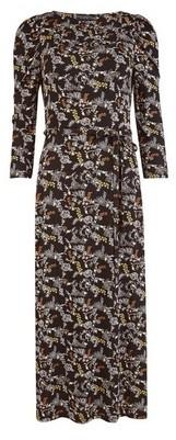 Dorothy Perkins Womens Black 3/4 Sleeve Square Neck Midi Dress, Black