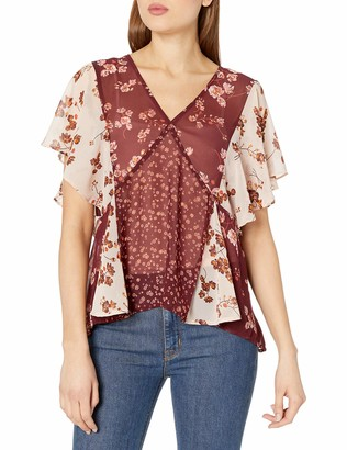 Lucky Brand Women's Mixed Print Floral Top