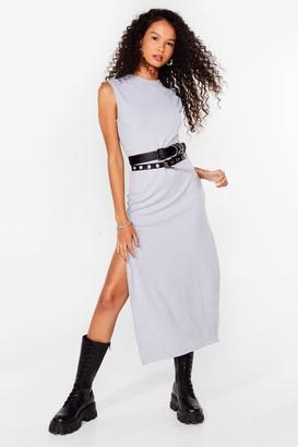 Nasty Gal Womens Slit the Ground Running Ribbed Midi Dress - Grey Marl
