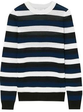 Sonia Rykiel Striped Open-knit Wool-blend Top