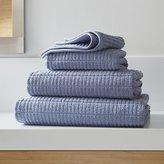 Crate & Barrel Manhattan Blue Bath Towels