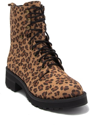 Mia Miki Leopard Print Combat Boot